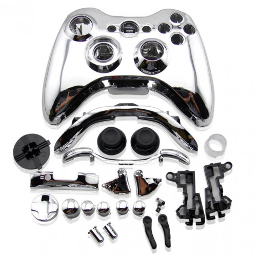 Coque manette Xbox 360 Chrome + boutons